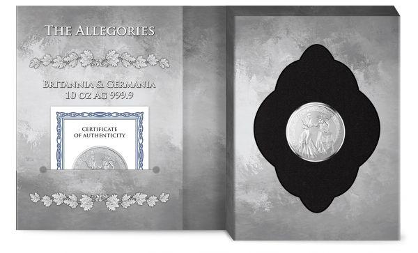 Germania 2019 50 Mark - Allegories: Britannia & Germania - 10 Oz Silver BU Coin