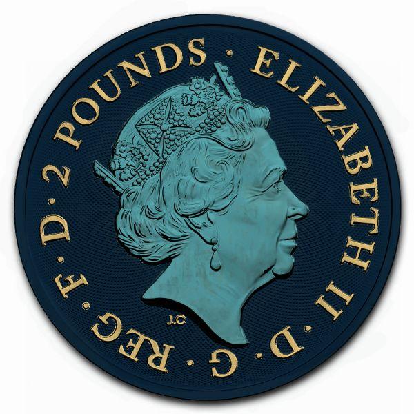 UK 2019 2 Pounds Unicorn & Lionking 1 Oz Space Black Metallic Blue & Gilded 1 Oz Silver Coin