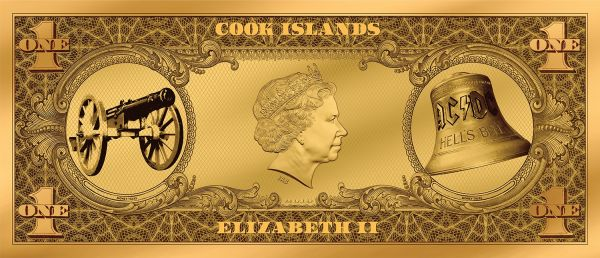 Cook Islands 2019 1$ AC/DC - Angus Buck 1/10 g Gold Banknote