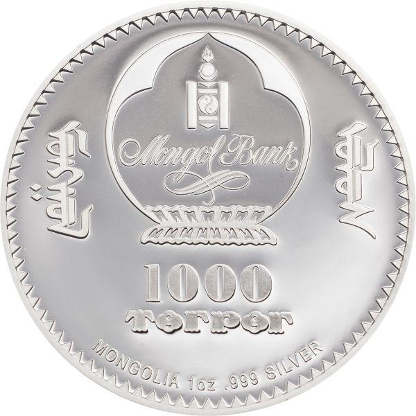 Mongolia 2020 1000 Togrog - Mahatma Gandhi - 1 Oz Silver Proof Coin