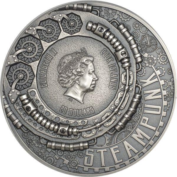Cook Islands 2020 20$ - Steampunk - 3 Oz Antique Silver Coin