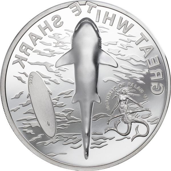 Palau 2021 5$ - Great White Shark - 1 Oz Proof Silver Coin
