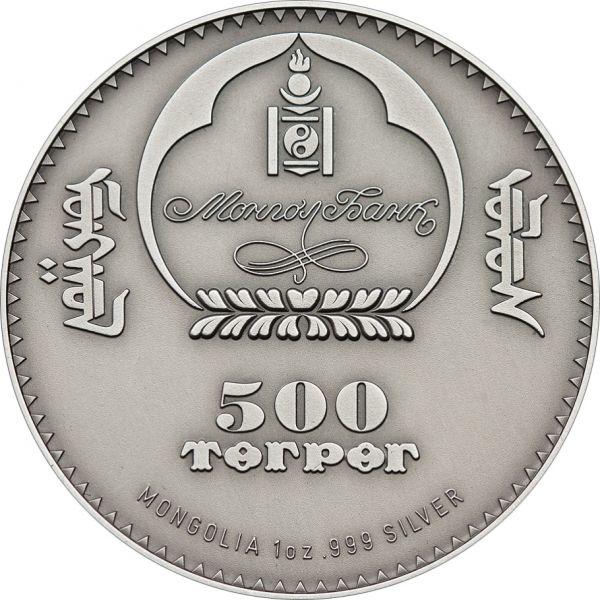 Mongolia 2012 500 Togrog - Long-eared Hedgehog - 1 Oz Silver Coin