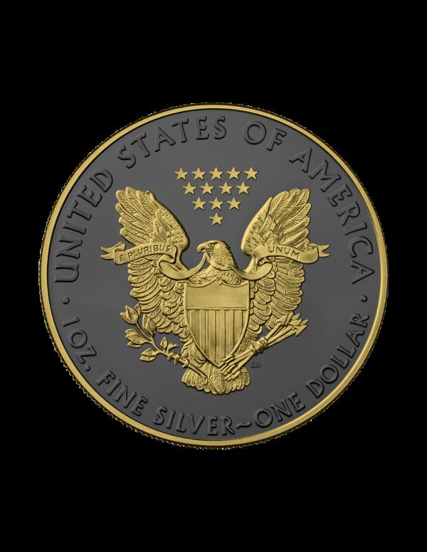 USA 2021 1$ Liberty American Eagle - Golden Ring - 1 Oz Silver Coin