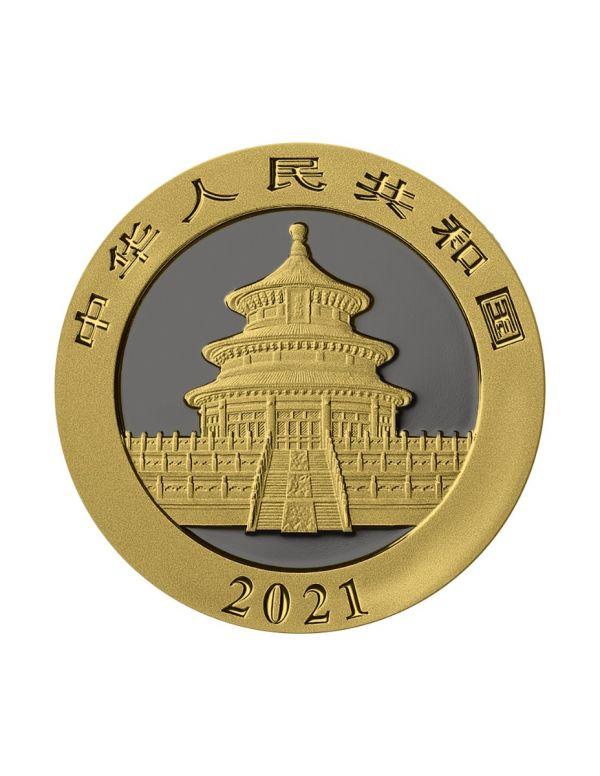 China 2021 10 Yuan Panda - Golden Ring - 30g Silver Coin