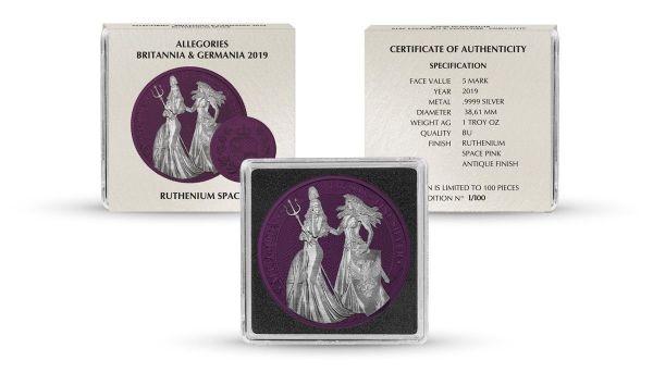 Germania 2019 5 Mark Germania & Britannia - Space Pink - 1 Oz Silver Coin