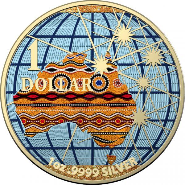 Australia 2020 1$ Beneath the Southern Skies Diamond Dust Aborigines Flag .9999 1 Oz Silver Coin