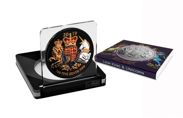 UK 2019 2 Pounds Unicorn & Lionking 1 Oz Space Black Metallic Orange & Gilded 1 Oz Silver Coin