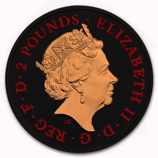 UK 2019 2£ - Royal Arms - Lion King & Unicorn - Gilded - 1 Oz Silver Coin