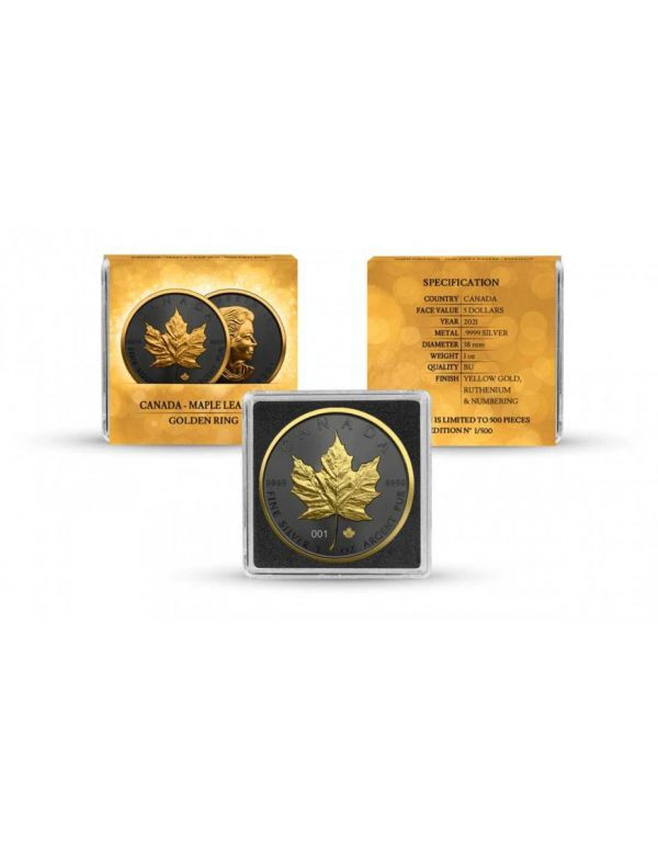 Canada 2021 5$ Maple Leaf - Golden Ring - 1 Oz Silver Coin