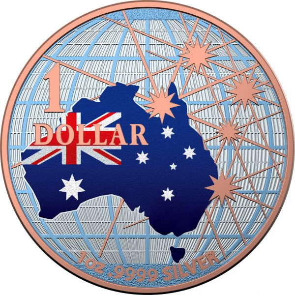 Australia 2020 1$ Beneath the Southern Skies Australian Flag Red Gold Gilded .9999 1 Oz Silver Coin