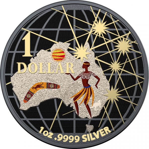 Australia 2020 1$ Beneath the Southern Skies Space Black Aborigines Boomerang .9999 1 Oz Silver Coin