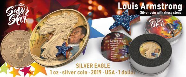 USA 2019 $1 Liberty Music Super Star - Louis Armstrong 1 Oz Silver Coin