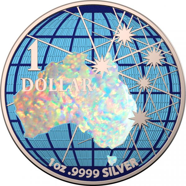 Australia 2020 1$ Beneath the Southern Skies Hologram Map Space Colors .9999 1 Oz Silver Coin