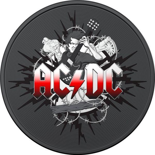 Australia 2021 1$ AC/DC 1 Oz Coloured Ruthenium Silver 1 Oz Coin