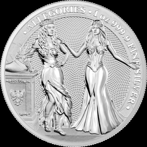 Germania 2020 5 Mark - Allegories: Italia & Germania - 1 Oz 9999 Silver Coin