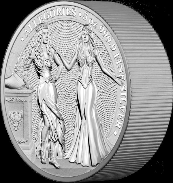 Germania 2020 25 Mark - Allegories: Italia & Germania - 5 Oz 9999 Silver Coin