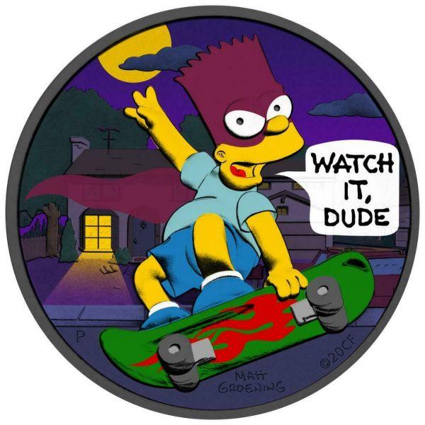 Tuvalu 2020 1$ Bart Simpson Batman 1 Oz Silver Ruthenium Coin