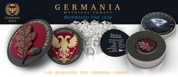 Germania 2019 5 Mark - Bejeweled Oak Leaf - Black - 1 Oz Silver Coin