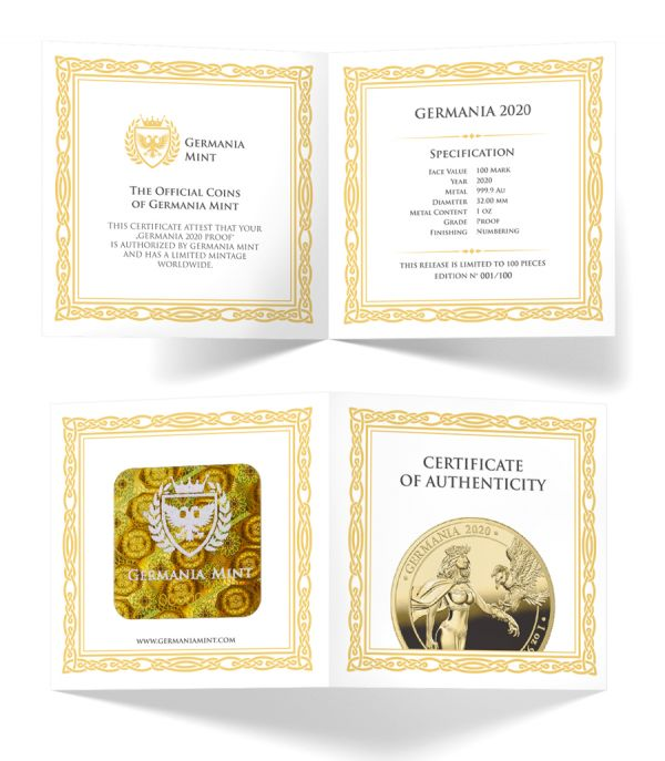 Germania 2020 100 Mark - Germania - 1 Oz 999.9 Gold Proof Coin