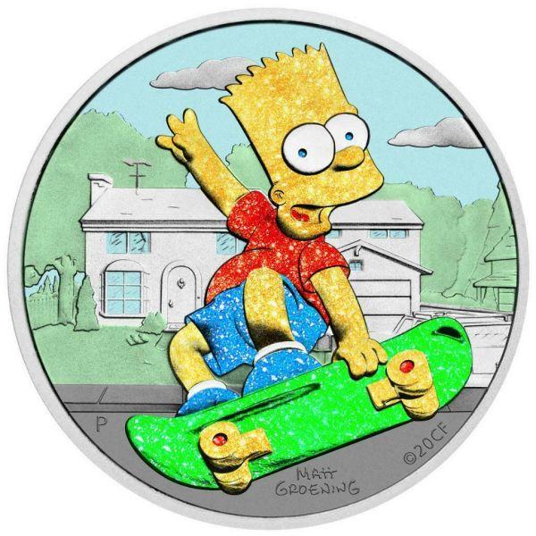 Tuvalu 2020 1$ Bart Simpson Diamond Dust 1 Oz Silver Coin