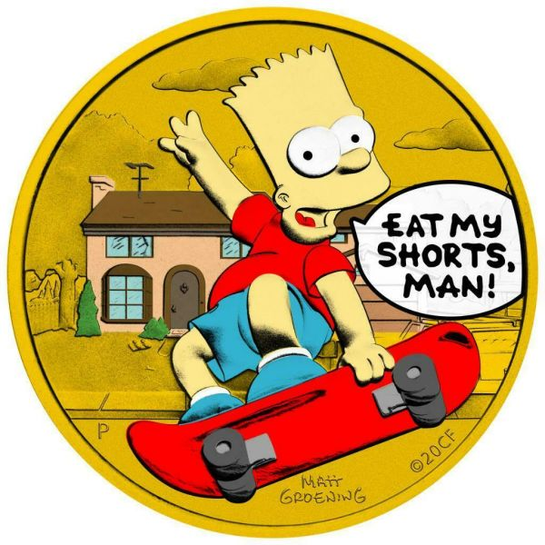 Tuvalu 2020 1$ Bart Simpson Eat My Shorts, Man 1 Oz Silver Gilded Coin