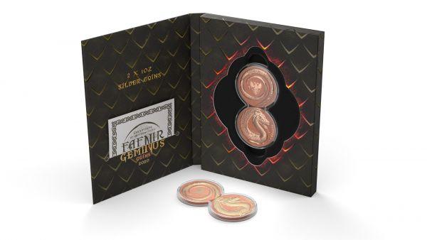 Germania 2020 2x5 Mark Fafnir Set - Terracotta & Gilded - 2 x 1 Oz Silver Coins