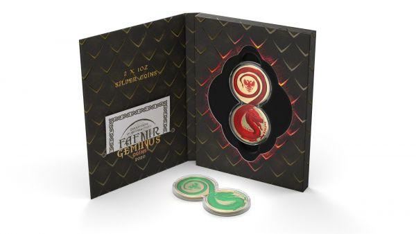 Germania 2020 2x5 Mark - Fafnir Set - Space Red & Green - 2 x 1 Oz Silver Coins