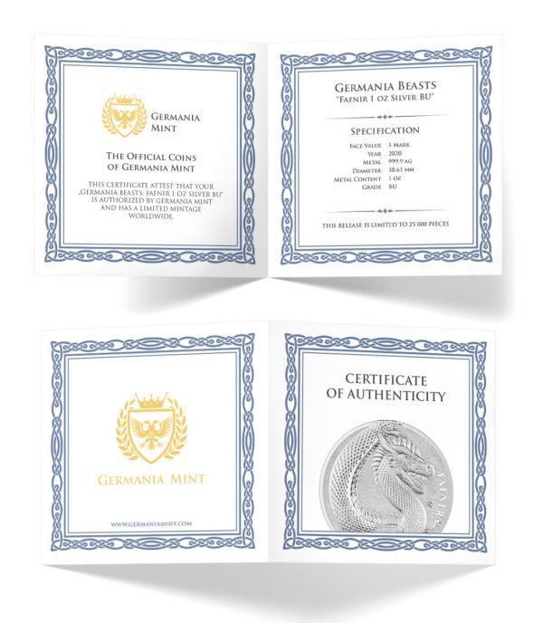 Germania 2020 5 Mark - Germania Beasts: Fafnir - 1 Oz Silver BU Coin