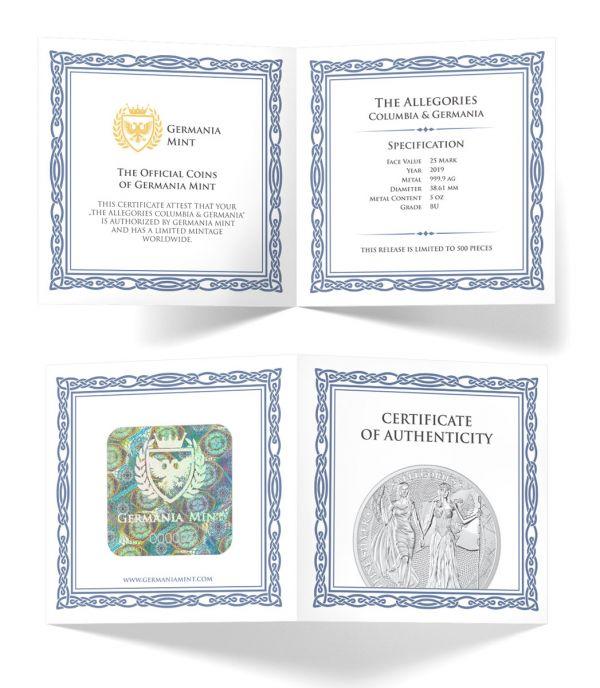 Germania 2019 25 Mark - Allegories: Columbia & Germania 5 Oz Silver BU Coin