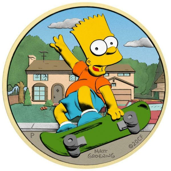Tuvalu 2020 1$ Bart Simpson Home Sweet Home 1 Oz Silver Colored Coin