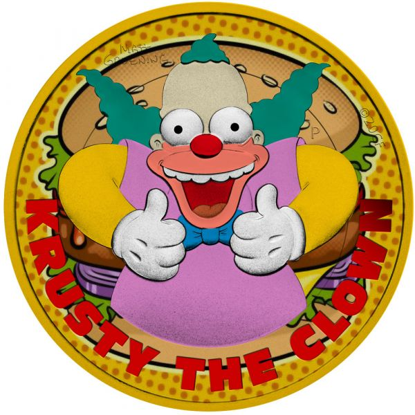 Tuvalu 2020 1$ Krusty The Clown Krusty´s Burger 1 Oz  Gilded Silver Coin