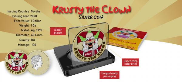 Tuvalu 2020 1$ Krusty The Clown-Springfield´s Krusty Burger´s 1 Oz Silver Coin
