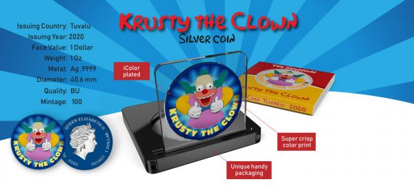Tuvalu 2020 1$ Krusty The Clown-Space Blue Comedy Show 1 Oz Silver Coin