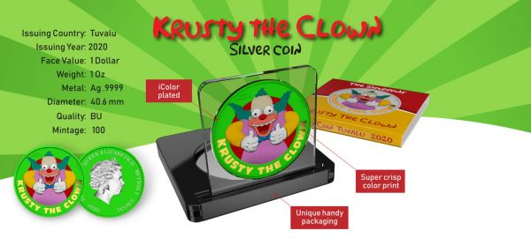 Tuvalu 2020 1$ Krusty The Clown-Space Green Comedy Show 1 Oz Silver Coin