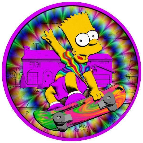 Tuvalu 2020 1$ Bart Simpson LSD Trip 1 Oz Silver Colored Coin