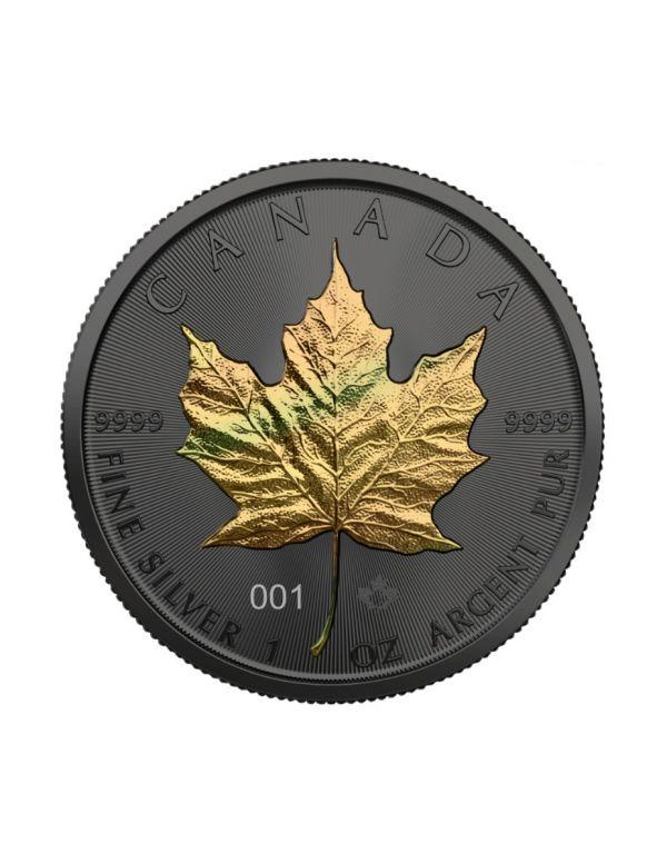 Canada 2021 5$ Maple Leaf - Golden Holo - 1 Oz Silver Coin