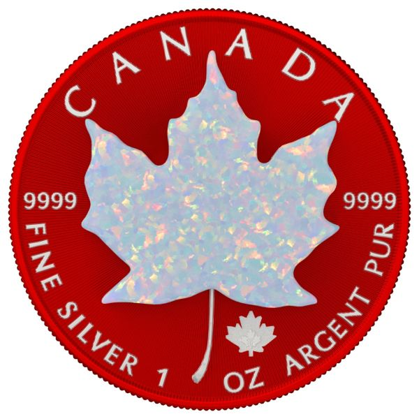 Canada 2020 5$ - Maple Leaf - Space RED & Opal - 1 Oz Silver Coin