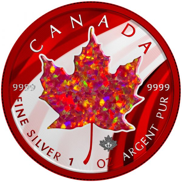 Canada 2020 5$ - Maple Leaf - RED Opal - 1 Oz Silver Coin with Real OPAL Stone