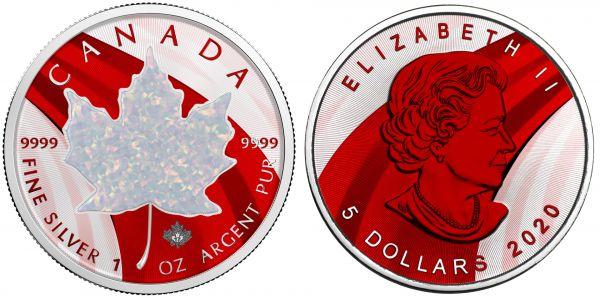 Canada 2020 5$ - Maple Leaf - Metallic & White Opal - 1 Oz Silver Coin