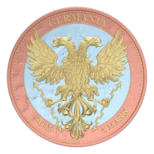Germania 2019 5 Mark - Bejeweled Oak Leaf - Pink - 1 Oz Silver Coin