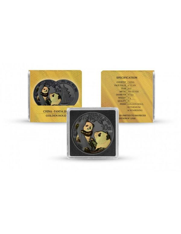 China 2021 10 Yuan Panda - Golden Holo - 30g Silver Coin