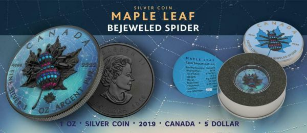 Canada 2019 5$ Maple Leaf - Bejeweled SPIDER - 1 Oz Silver Coin
