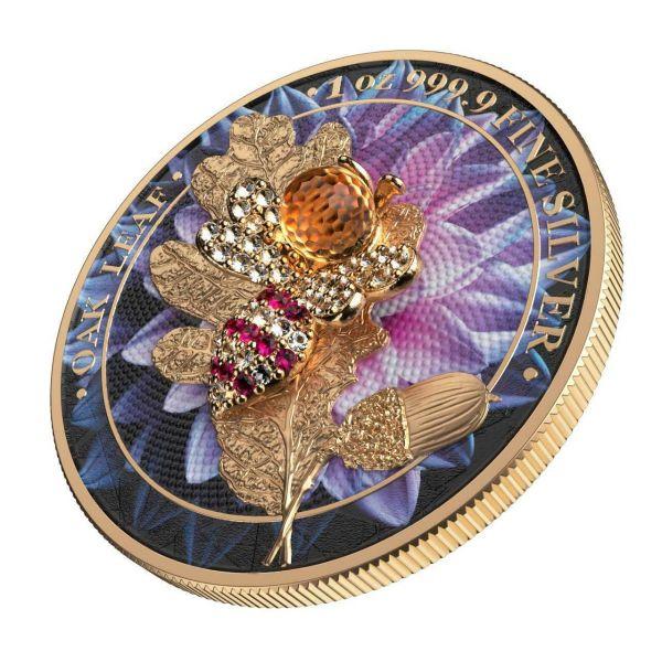 Germania 2019 5 Mark Oak Leaf - Bejeweled Bee - 1 Oz Silver Coin