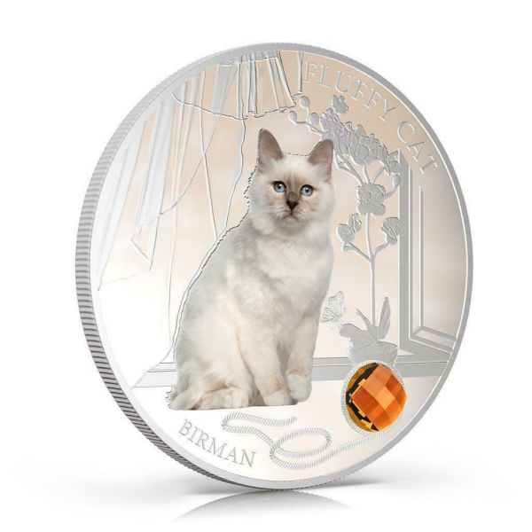 Fiji 2013 $2 Dogs & Cats Fluffy Cat - Birman 1 Oz Silver Coin
