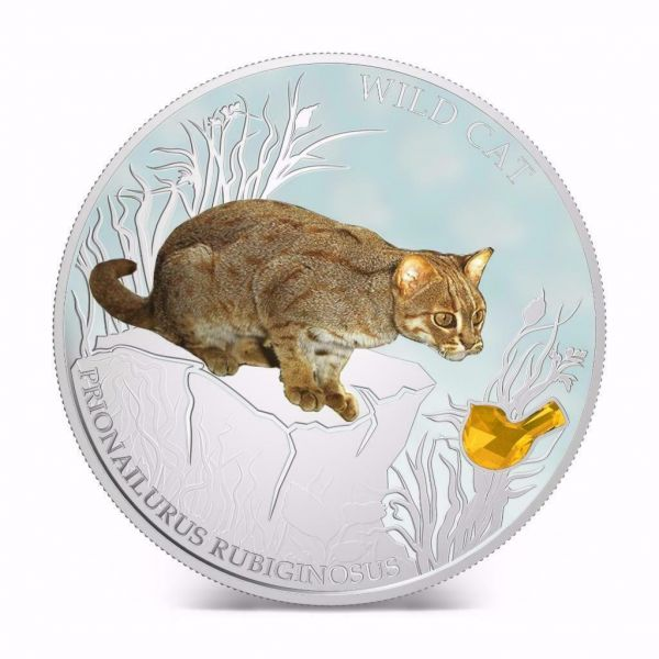Fiji 2013 $2 Dogs & Cats Wild Cat - Prionailurus Bengalensis 1 Oz Silver Coin