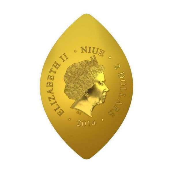 Niue 2014 $2 World Heritage - St. Peter in Glory 1 Oz Gilded Silver Coin