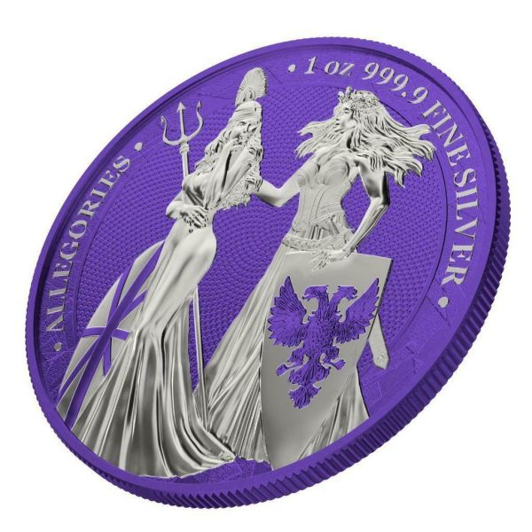 Germania 2019 5 Mark The Allegories i-Color Edition - Violet 1 Oz Silver Coin