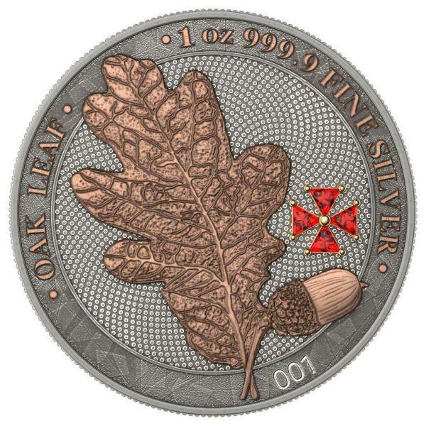 Germania 2020 5 Mark OAK LEAF Red Crystal Cross 1 Oz Silver Coin