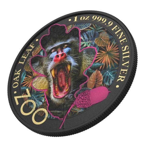 Germania 2019 5 Mark The Oak Leaf - Zoo Series - Mandrill 1 Oz Silver Coin